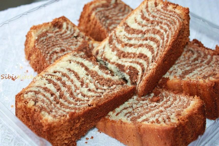 Vanilla- Chocolate Striped Cake